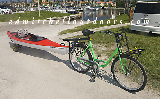 Kayak Towed by a Bicycle