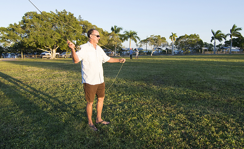 Casting on the lawn at Pine Island Fly Fishers